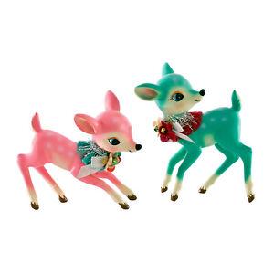 Katherines-Collection-Set-2-Pink-Blue-Figure-Reindeer-Retro-Vntg-Christmas-Decor