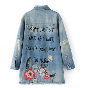 Women Denim Jacket Patch Bf Boyfriend Embroidered Denim Jackets Coat