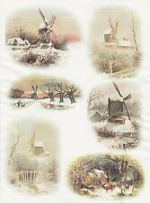Rice Paper for Decoupage Decopatch Scrapbook Craft Sheet Vintage Winter Night