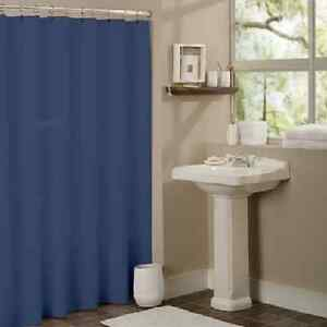 SOLID WATER REPELANT BATHROOM SHOWER CURTAIN PLASTIC LINER NAVY BLUE EBay