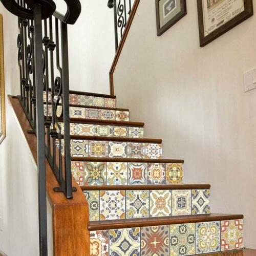 6pcs Stairs Tile Vinyl Wall Stickers Adhesive Wallpaper Home Floor Decor Decal