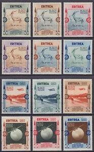"""Eritrea 1934 """"Mostra Arte Coloniale"""" serie 12 val. MNH** nuova gomma integra"""