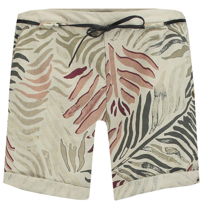Garcia Donna Donna Donna Short Pantaloni Corti Bermuda BEIGE CON PRINT NUOVO be0f5b