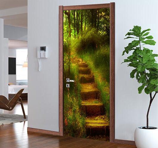 3D Grasland Schritte Tür Mauer Wandgemälde Foto Wandaufkleber AJ WALL DE Lemon