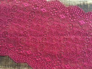 "laverslace Pink with Black Wide Floral Stretch Tulle Lace Trim 6.5/""//16cm"