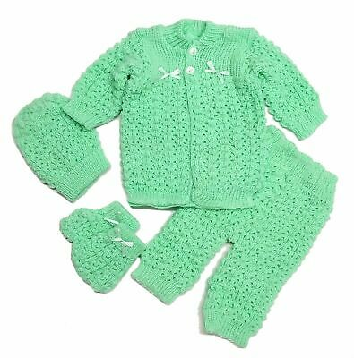 Baby Crochet Girl Pink Hat and Cardigan Sweater Pants Booties 4 Piece Outfit Set