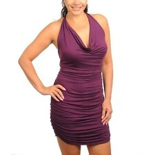 TRAC Hug Me Purple Ruched Plus Mini Dress Open Shoulder Cocktail Clubwear Sz 3X