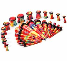 TAPER KIT 8G-00G Tie Dye PLUGS TAPERS Stretching Ear Piercing Jewelry Gauges Kit