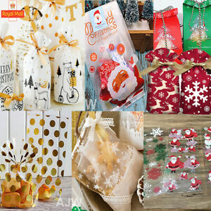 50x Christmas Sweet Candy House Cellophane Biscuit Chocolate Cakes Gifts Bags UK