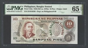 Philippines 10 Piso 1949(ND 1970s) P154a Uncirculated Grade 65