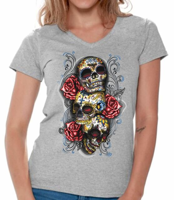 3 Sugar Skulls Women/'s V-Neck T-Shirt Dia de los Muertos Roses Day of the Dead