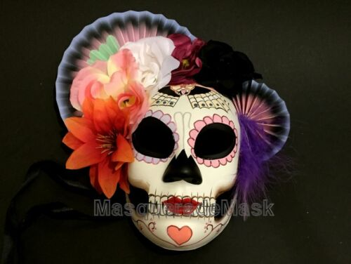 Full face day of the dead flower Masquerade mask costume dress up Wall Deco