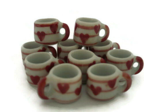 10 Mug Coffee Heart Hand Painted Dollhouse Miniatures Ceramic Food