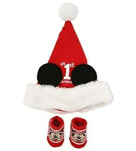Details about Disney Baby Hat Sock Set Mickey s 1st Christmas 8a977f1e8c0