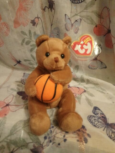 """TY """"Originals""""  Beanie Baby - HOOPS THE BASKETBALL BEAR Tags and protector. 55d"""