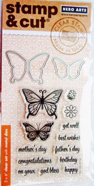 Hero Arts Clear Stamp /& Cut Butterfly Pair Thin Metal Die Cut Set DC182 NEW