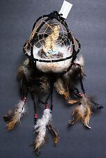 """Wolf figurine in black round dreamcatcher 6"""" diameter"""
