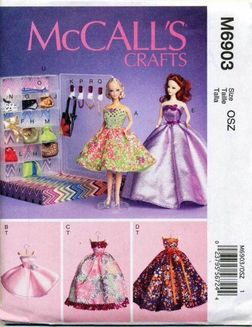 Mccalls Sewing Pattern 6903 Barbiefashion Doll Clothes Evening Gown