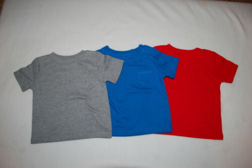 Royal Blue Baby Boys 3 LOT S//S KNIT T-SHIRT w// POCKET Heather Gray Red 0-3 MO