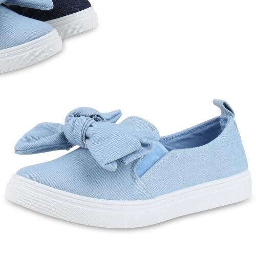 Damen Sneakers Jeans Denim Plateau Sneaker Slip-ons Schleifen 817265 Top