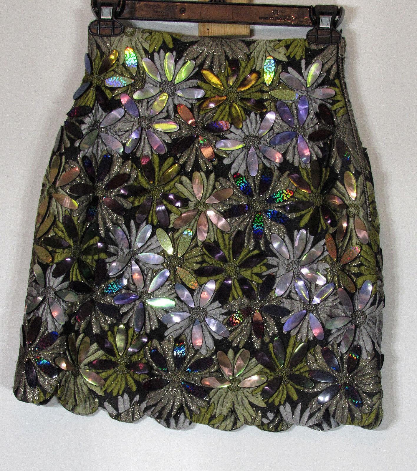 IPP Sequined Floral Glass Embellished Miniskirt, Scalloped hem, Women Size 2