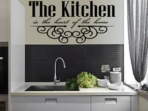 Kitchen heart home quote wall stickers art dining room for Ebay dining room wall art