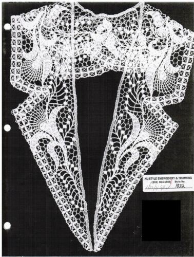 """Magnificent Venice Lace Applique Large Lapel 20/"""" Collar Bridal Dress 2pc  #1832v"""