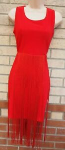 RARE-RED-TASSEL-FRINGED-TASSLE-BODYCON-BANDAGE-PARTY-PENCIL-GATSBY-DRESS-8-S