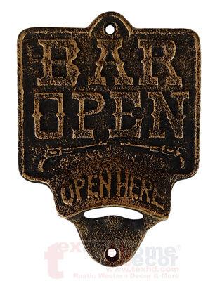 100 Dark OPEN HERE Beer Soda Bottle Opener Rustic Cast Iron Wall Mount Bar Decor
