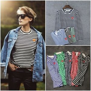 447cfaae93c05 Womens Mens COMME Des Garcons PLAY Red Heart Striped Long Sleeve ...