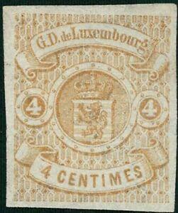 Lussemburgo LUXEMBOURG 1859 STEMMA 4c. inutilizzato MH * mi:5 kw:220 € esaminato