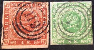 Denmark-1854-2-x-Stamps-vfu