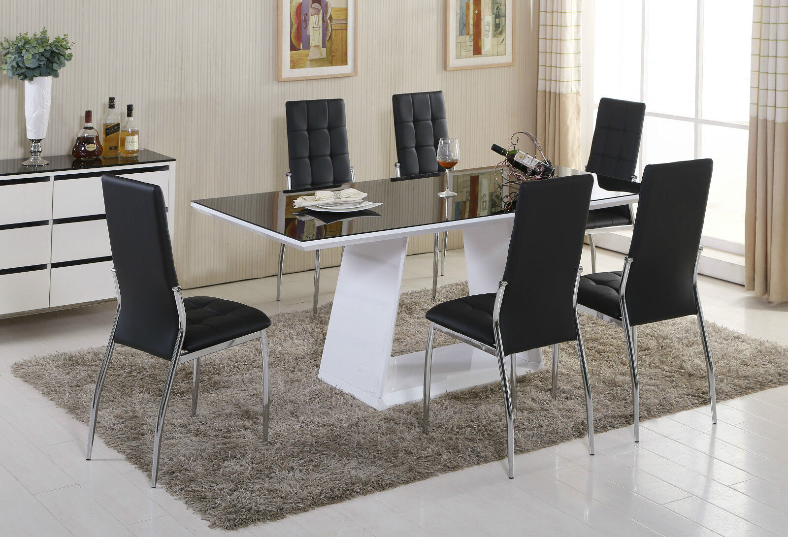black white high gloss glass dining table set and 6 leather chairs