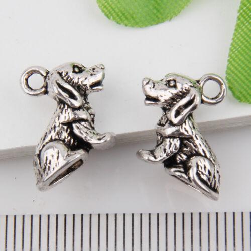 10Pcs Wholesale Zinc Alloy 3D Dog Charms Pendants 13x10mm 1A1895