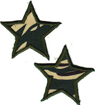"""MILITARY USA CAMOUFLAGE STARS (1 1/2"""") PATRIOTIC (2 Pc)- Iron On Applique Patch"""