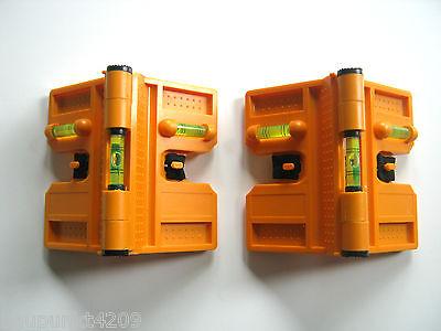 Pfostenwasserwaage Winkelwasserwaage Set 2-teilig mit Magnet u. 3 Libellen