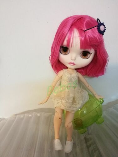 """12/"""" Neo Blythe Nude Doll From Factory Jointed Body Pink Hair Matte Face Make-up"""