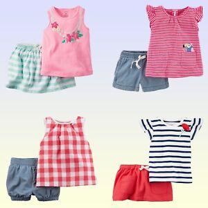34823e4ebe2a5 NWT Carter s Baby Toddler Girls  Tank Top   Shorts or Skort 2 Piece ...