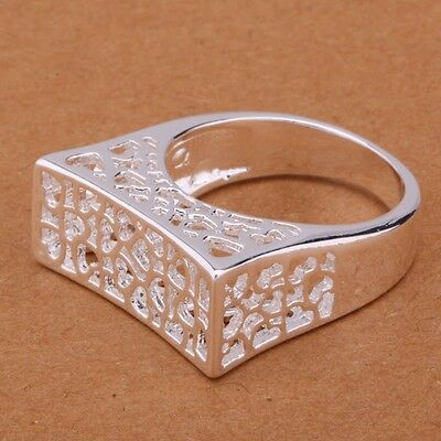 *UK* 925 SILVER PLT CHUNKY SQUARE EDGE FILIGREE HEART BAND RING STATEMENT LADIES