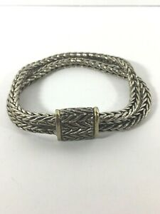 Sterling-Silver-Bracelet-Braided-Double-Rope-Twisted-Magnetic-Clasp-Chain-925