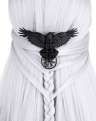 Restyle Goth Gothic Viking Aegishjalmur Helm Of Awe Hair Clip Raven Matte Black