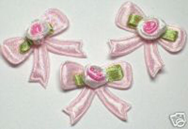 60 Pink Embossed/Padded Satin bow w/ Rose Appliques~Card making
