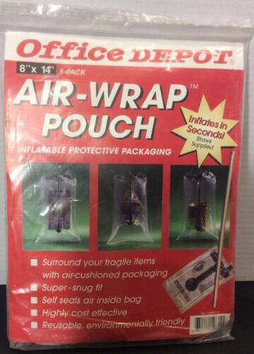 "NEW Office Depot 5-Pk 8/""X14/"" Air-Wrap Pouches-Inflatable Protective Pkg-Reusable"