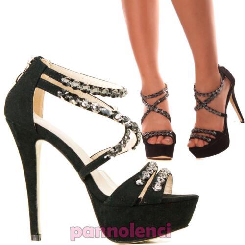 Scarpe donna sandali sera gioiello cinturini STRASS scamosciate nuove AA-179