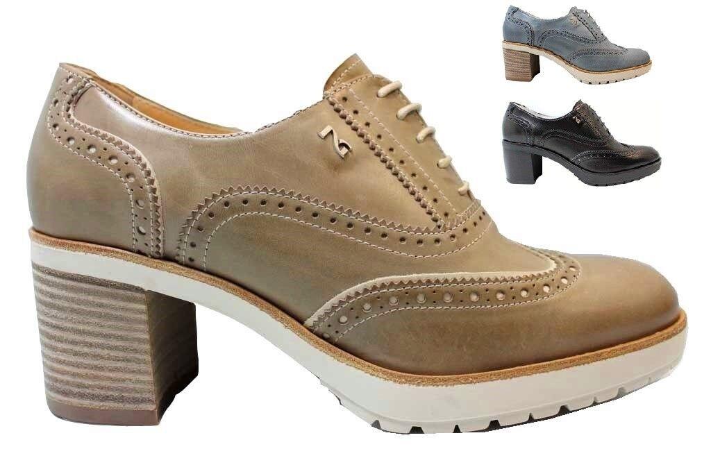 Nero Giardini P805041D Navy Nero e Tortora Stringate Schuhe Damenschuhe Stile Inglese