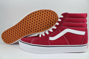 d639836a3f2d39 VANS SK8-HI RUMBA RED WHITE BURGUNDY MAROON SUEDE CANVAS SKATE HIGH ...