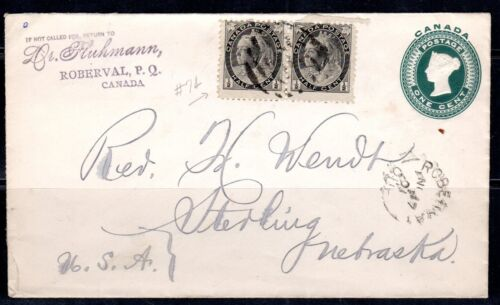 CANADA 1890's ONE CENT POSTAL CARD UPRATED TWO 12 c. Sc. 74 FOR CENT RATE TO