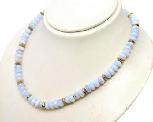 Encantadora piedras preciosas cadena de Chalcedon y pirita en facetada radform