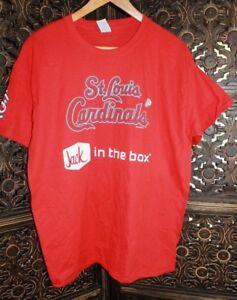 MLB St Louis Cardinals Baseball Jack In The Box Crew Shirt Ball Park Shirt New