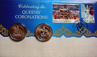AUSTRALIA PERTH MINT 2013 Queen/'s Coronation STAMP /& 2 x $1 COIN COVER PNC NEW